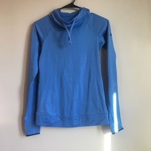 Nike Pro Dry Fit Blue Hooded Long Sleeve Top